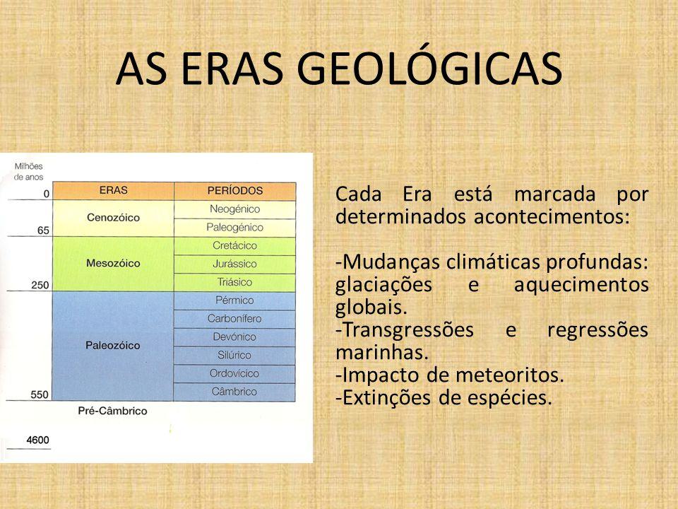 AS ERAS GEOLÓGICAS Cada Era está marcada por determinados acontecimentos: -Mudanças climáticas profundas: glaciações e aquecimentos globais. -Transgre