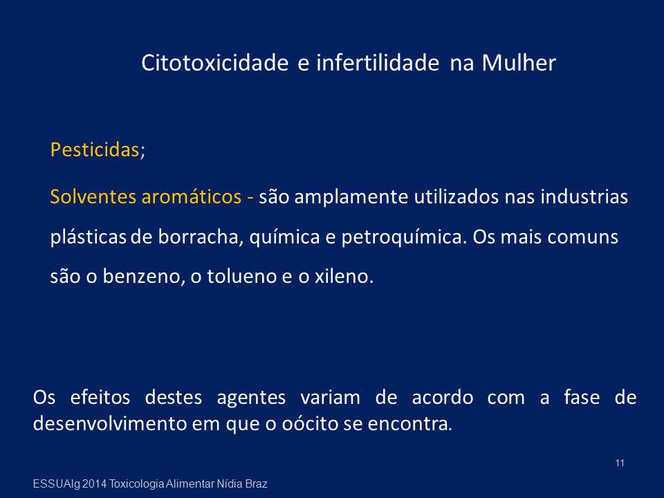 Citotoxicidade e infertilidade na Mulher Pesticidas; Solventes aromáticos - são amplamente utilizados nas industrias plásticas de borracha, química e petroquímica.