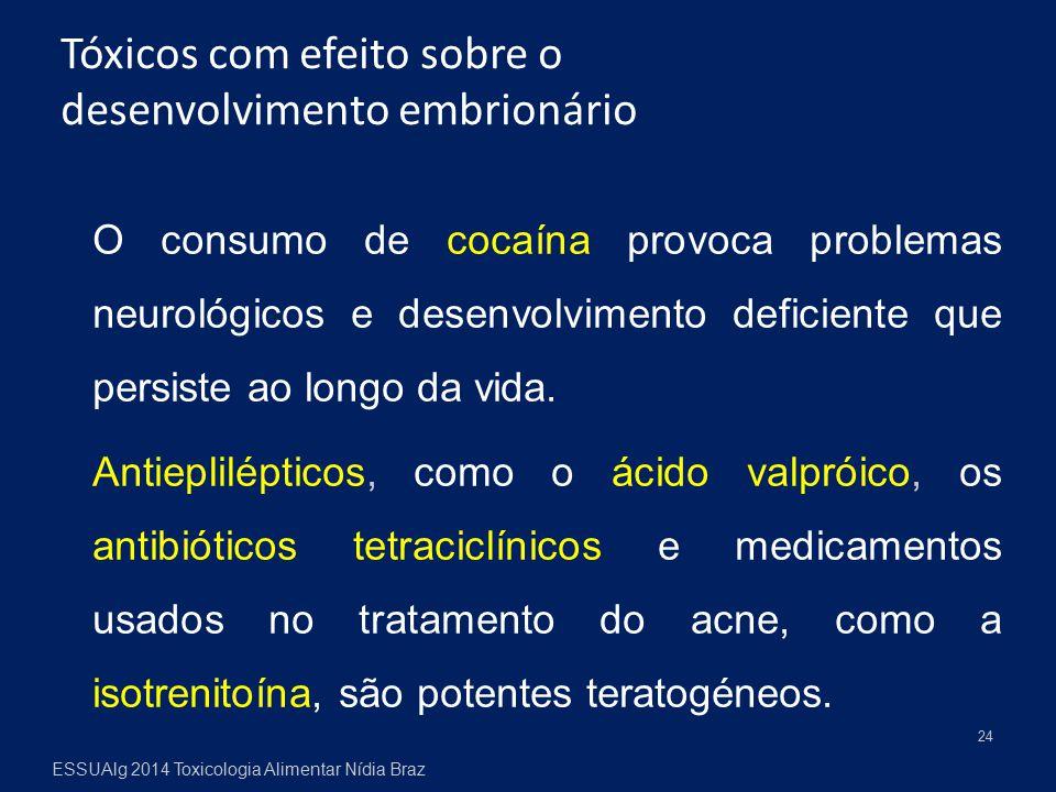 O consumo de cocaína provoca problemas neurológicos e desenvolvimento deficiente que persiste ao longo da vida. Antieplilépticos, como o ácido valprói