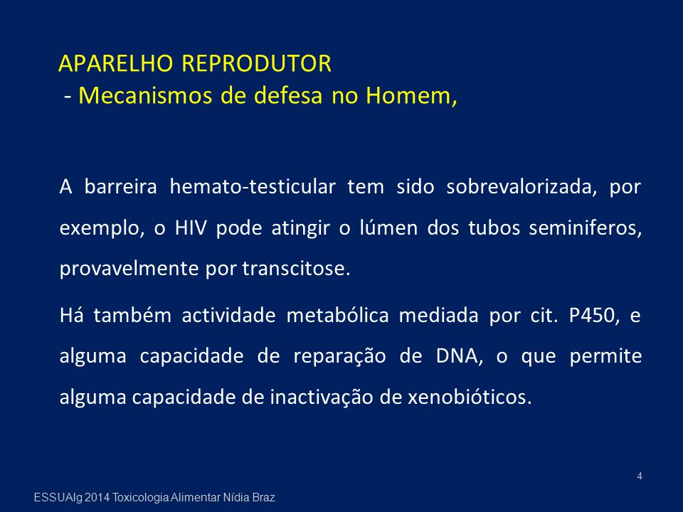 A barreira hemato-testicular tem sido sobrevalorizada, por exemplo, o HIV pode atingir o lúmen dos tubos seminiferos, provavelmente por transcitose. H