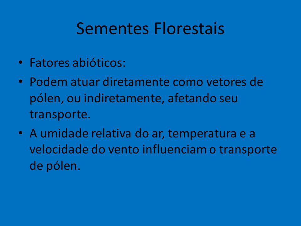 Sementes Florestais Fatores abióticos: Podem atuar diretamente como vetores de pólen, ou indiretamente, afetando seu transporte. A umidade relativa do