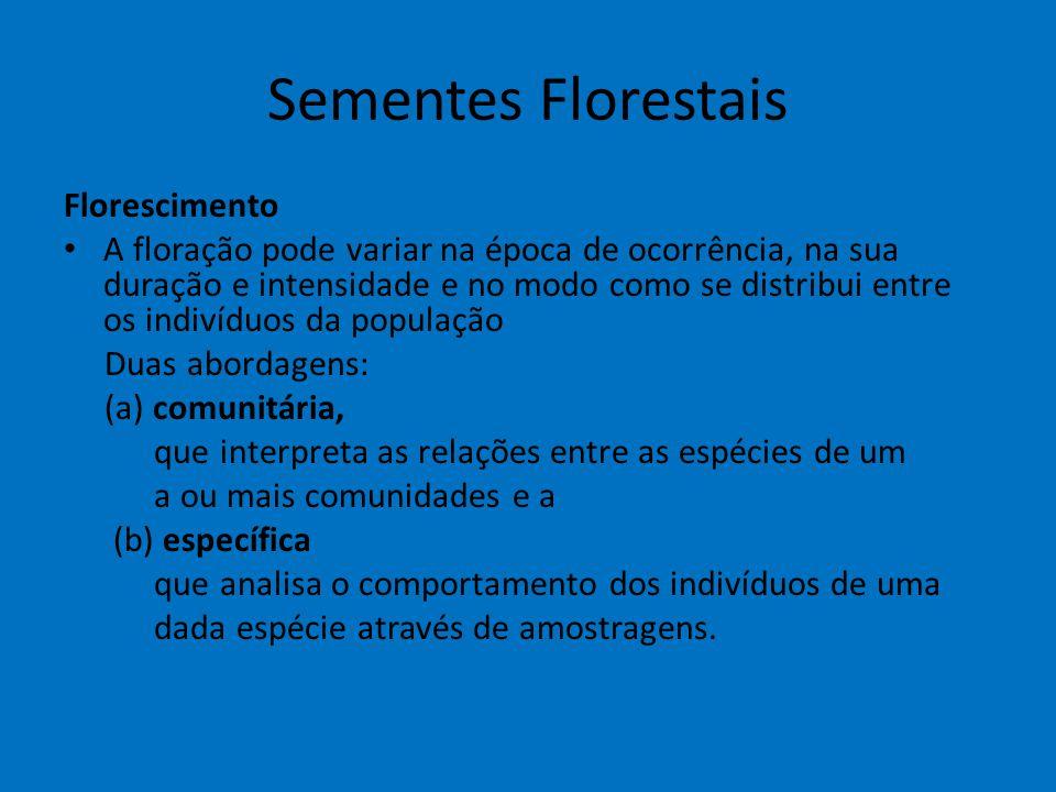 Sementes Florestais Florescimento A floração pode variar na época de ocorrência, na sua duração e intensidade e no modo como se distribui entre os ind