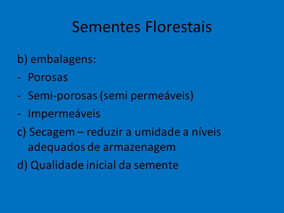 Sementes Florestais b) embalagens: -Porosas -Semi-porosas (semi permeáveis) -Impermeáveis c) Secagem – reduzir a umidade a níveis adequados de armazen