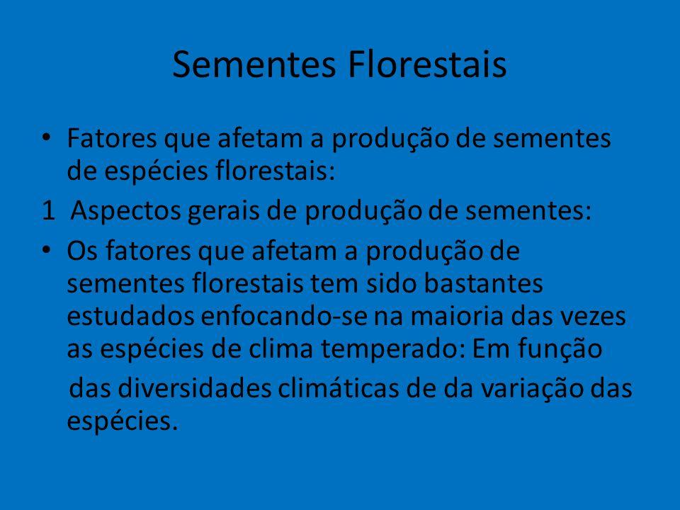 Sementes Florestais Fatores que afetam a produção de sementes de espécies florestais: 1 Aspectos gerais de produção de sementes: Os fatores que afetam