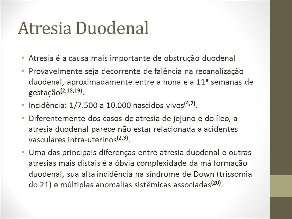 Atresia Duodenal Atresia é a causa mais importante de obstrução duodenal Provavelmente seja decorrente de falência na recanalização duodenal, aproxima