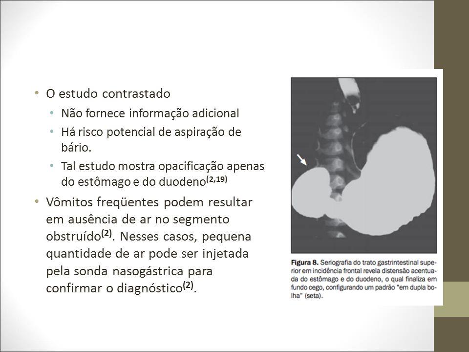 O estudo contrastado Não fornece informação adicional Há risco potencial de aspiração de bário. Tal estudo mostra opacificação apenas do estômago e do