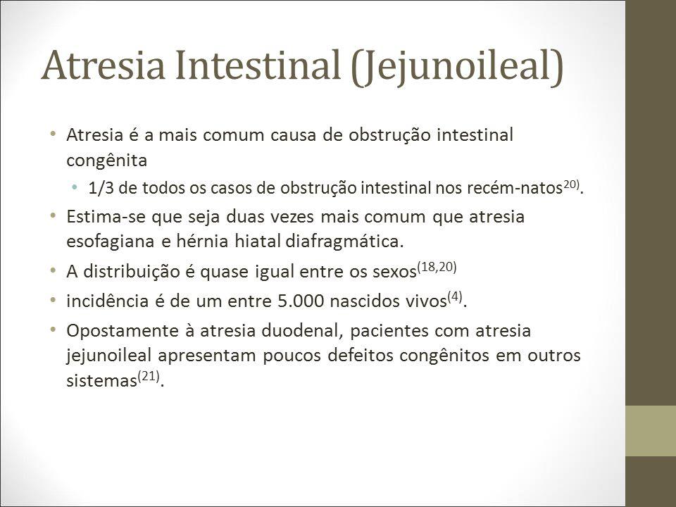 Atresia Intestinal (Jejunoileal) Atresia é a mais comum causa de obstrução intestinal congênita 1/3 de todos os casos de obstrução intestinal nos recé