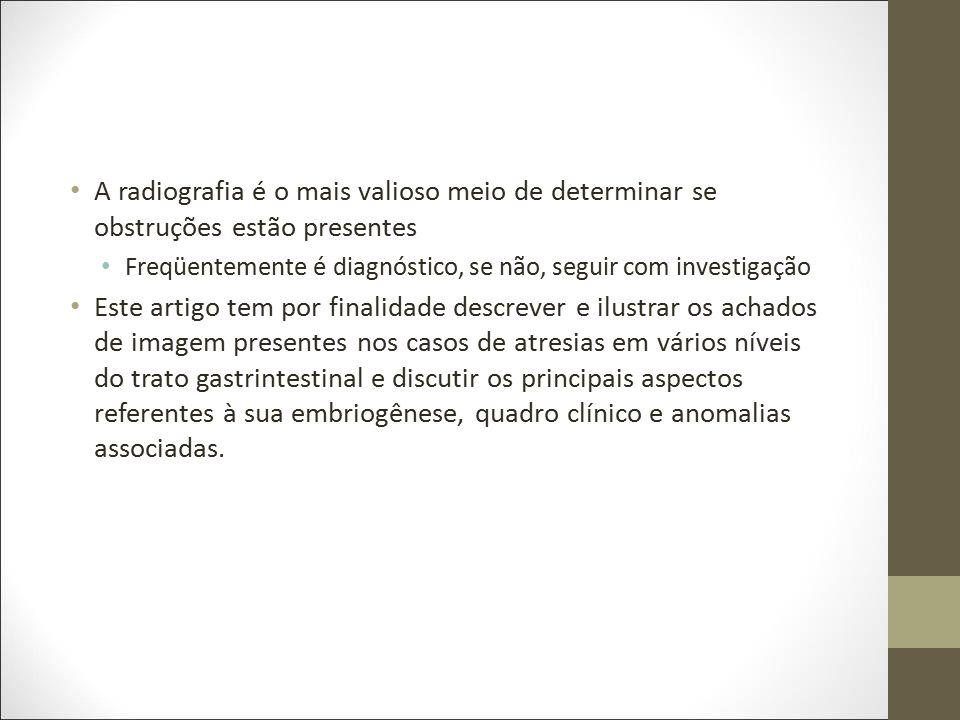 Atresia Esofágica Atresia esofágica com ou sem fístula traqueoesofágica Formação incompleta do esôfago com ou sem comunicação anormal com a traquéia (2).