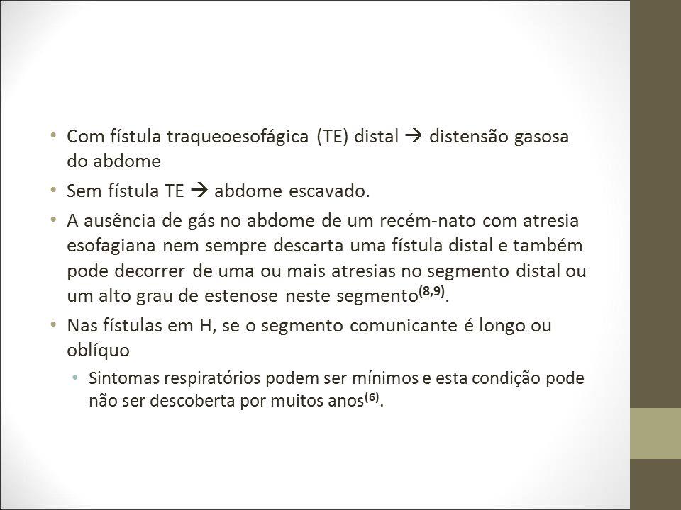 Os principais tipos de atresia e suas freqüências são (2,6) : Tipo A: atresia pura do esôfago, sem fístulas (8% a 10%); Tipo B: atresia do esôfago com fístula entre o segmento esofágico proximal e a traquéia (0,9% a 1%); Tipo C: atresia do esôfago com fístula entre a traquéia ou brônquio principal e o segmento distal do esôfago (53% a 84%); Tipo D: atresia de esôfago com fístula entre a traquéia e tanto com o segmento proximal quanto com o distal do esôfago (2,1% a 3%); Tipo E: fístula em H traqueoesofágica sem atresia do esôfago (4% a 10%).