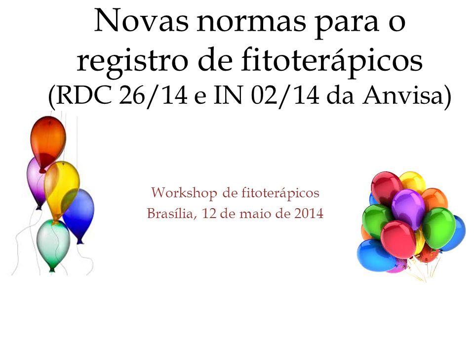Workshop de fitoterápicos Brasília, 12 de maio de 2014 Novas normas para o registro de fitoterápicos (RDC 26/14 e IN 02/14 da Anvisa)