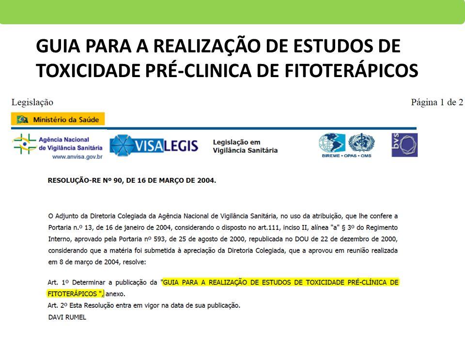 GUIA PARA A REALIZAÇÃO DE ESTUDOS DE TOXICIDADE PRÉ-CLINICA DE FITOTERÁPICOS