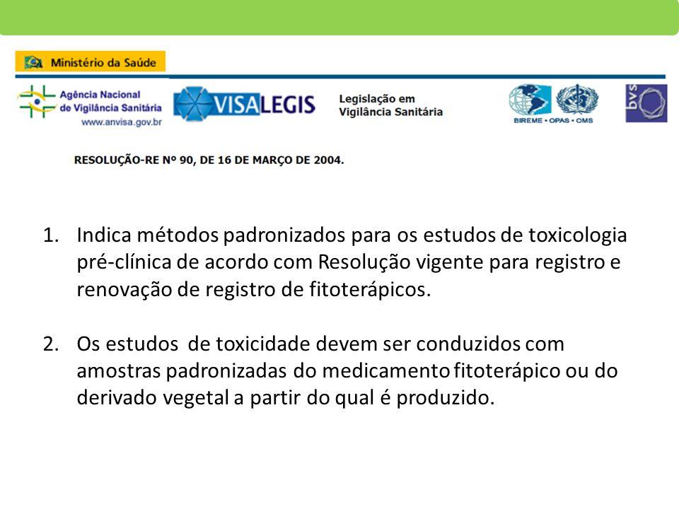 1.Indica métodos padronizados para os estudos de toxicologia pré-clínica de acordo com Resolução vigente para registro e renovação de registro de fito
