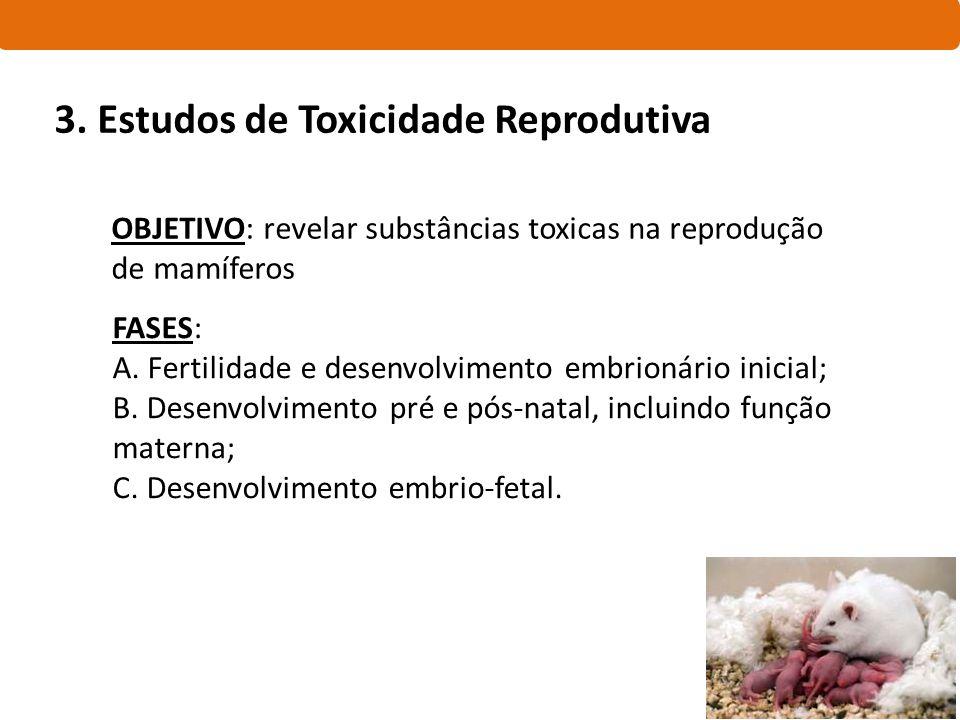 OBJETIVO: revelar substâncias toxicas na reprodução de mamíferos FASES: A. Fertilidade e desenvolvimento embrionário inicial; B. Desenvolvimento pré e