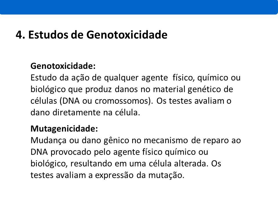 Genotoxicidade: Estudo da ação de qualquer agente físico, químico ou biológico que produz danos no material genético de células (DNA ou cromossomos).