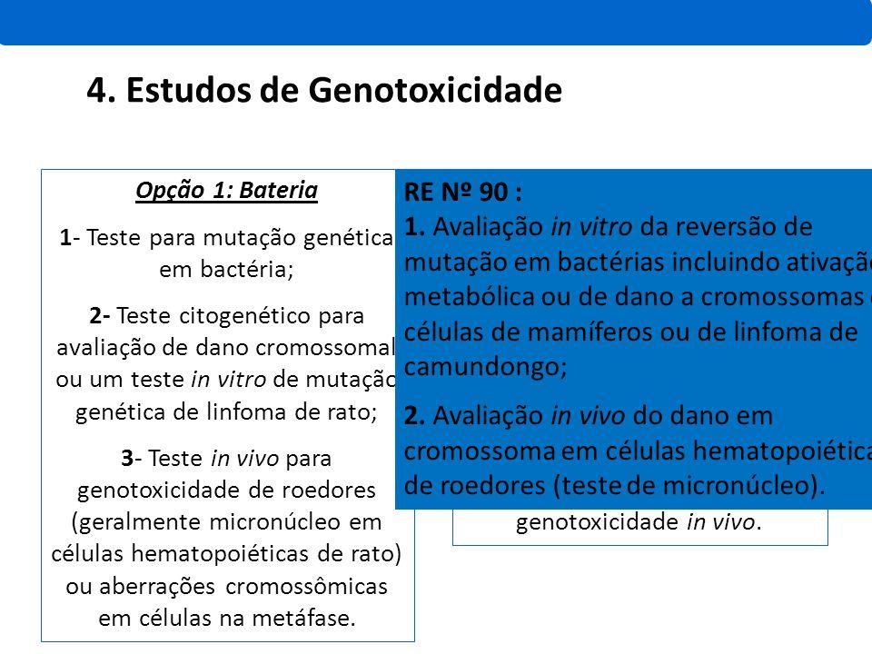 Opção 1: Bateria 1- Teste para mutação genética em bactéria; 2- Teste citogenético para avaliação de dano cromossomal ou um teste in vitro de mutação