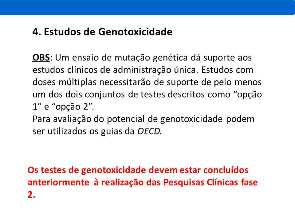 4. Estudos de Genotoxicidade OBS: Um ensaio de mutação genética dá suporte aos estudos clínicos de administração única. Estudos com doses múltiplas ne
