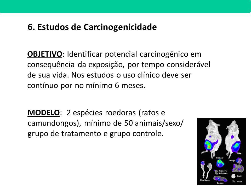 MODELO: 2 espécies roedoras (ratos e camundongos), mínimo de 50 animais/sexo/ grupo de tratamento e grupo controle. OBJETIVO: Identificar potencial ca