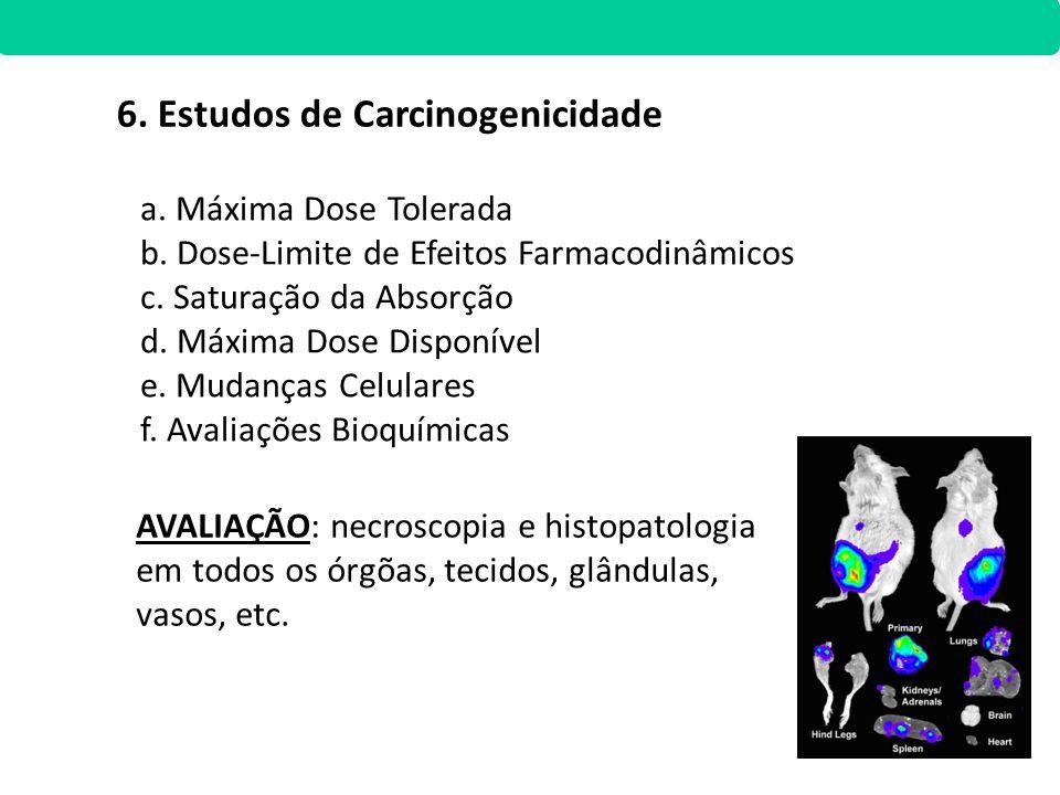 6. Estudos de Carcinogenicidade a. Máxima Dose Tolerada b. Dose-Limite de Efeitos Farmacodinâmicos c. Saturação da Absorção d. Máxima Dose Disponível