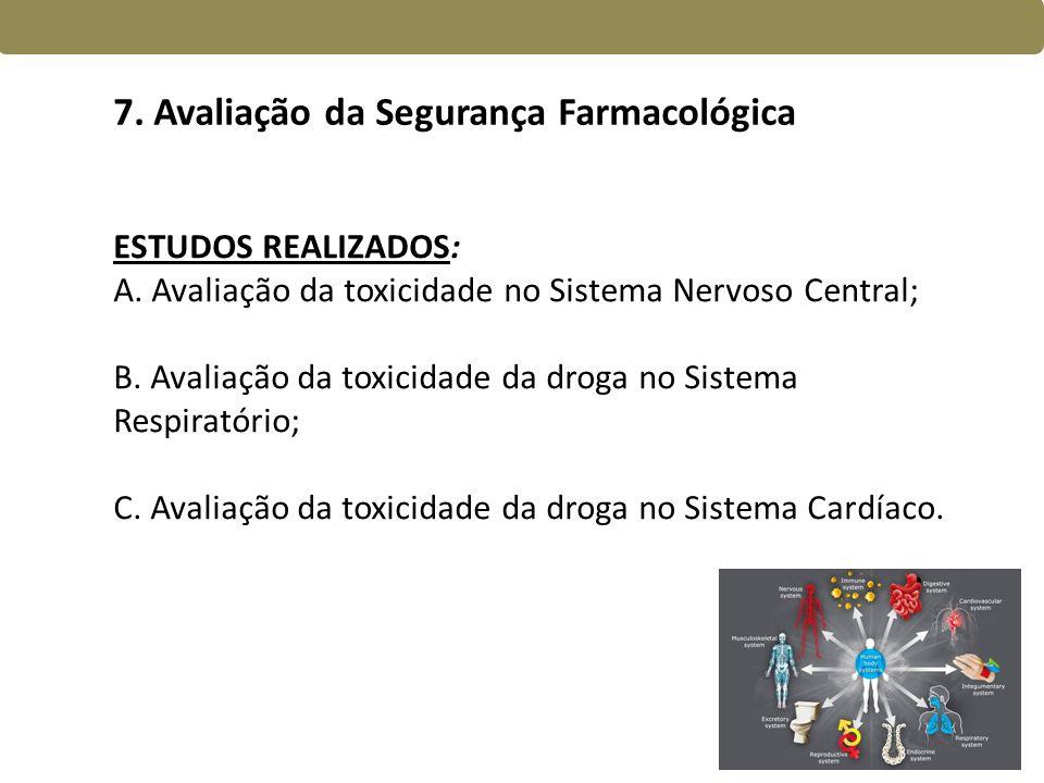 7. Avaliação da Segurança Farmacológica ESTUDOS REALIZADOS: A. Avaliação da toxicidade no Sistema Nervoso Central; B. Avaliação da toxicidade da droga