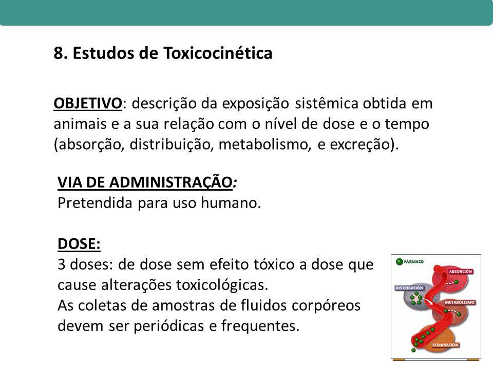 OBJETIVO: descrição da exposição sistêmica obtida em animais e a sua relação com o nível de dose e o tempo (absorção, distribuição, metabolismo, e exc