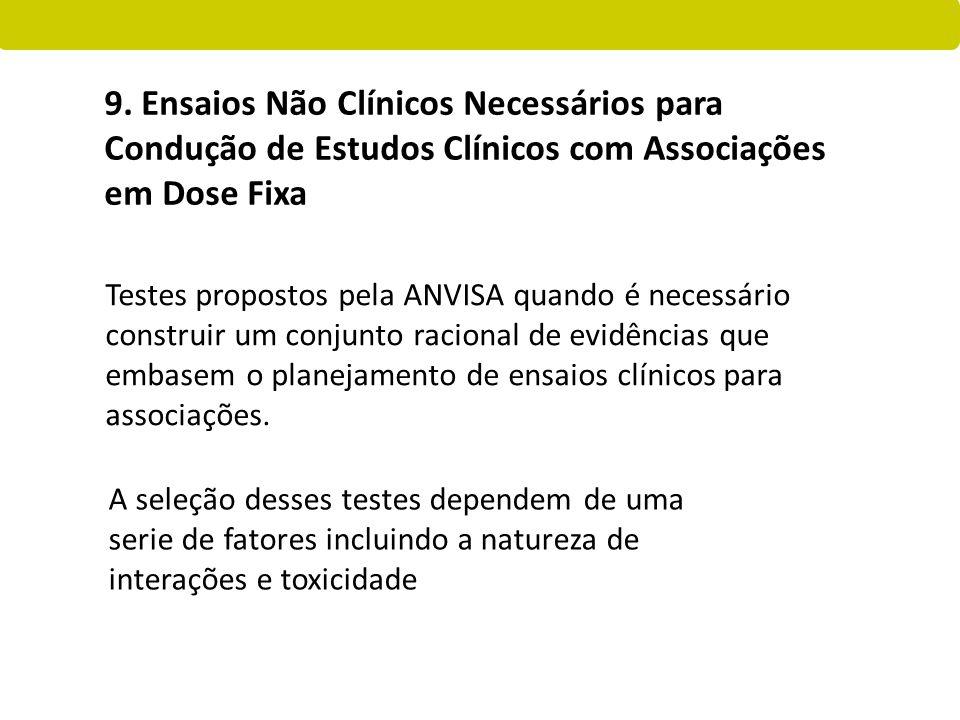 Testes propostos pela ANVISA quando é necessário construir um conjunto racional de evidências que embasem o planejamento de ensaios clínicos para asso