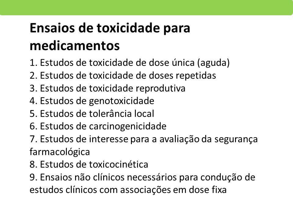 1. Estudos de toxicidade de dose única (aguda) 2. Estudos de toxicidade de doses repetidas 3. Estudos de toxicidade reprodutiva 4. Estudos de genotoxi