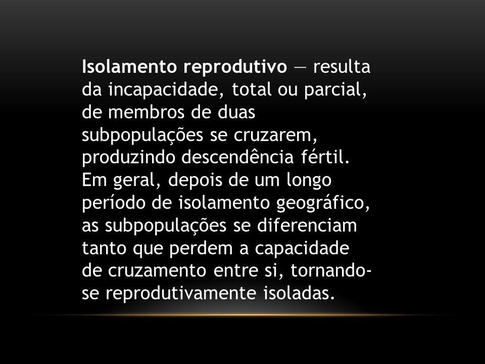 Isolamento reprodutivo — resulta da incapacidade, total ou parcial, de membros de duas subpopulações se cruzarem, produzindo descendência fértil. Em g