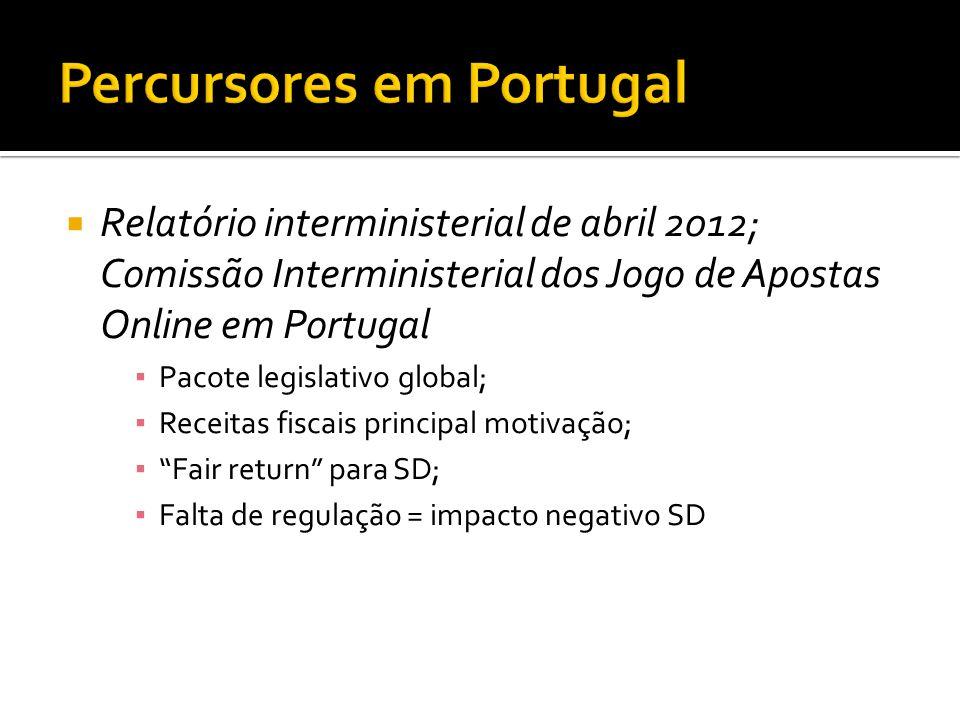  Relatório interministerial de abril 2012; Comissão Interministerial dos Jogo de Apostas Online em Portugal ▪ Pacote legislativo global; ▪ Receitas f