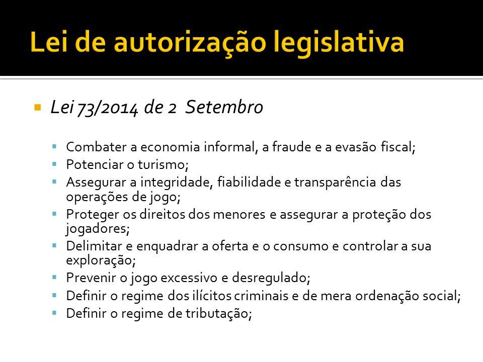  Lei 73/2014 de 2 Setembro  Combater a economia informal, a fraude e a evasão fiscal;  Potenciar o turismo;  Assegurar a integridade, fiabilidade