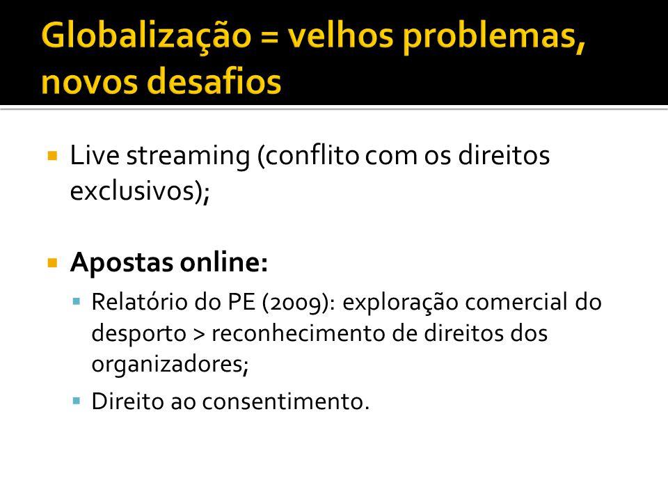  Live streaming (conflito com os direitos exclusivos);  Apostas online:  Relatório do PE (2009): exploração comercial do desporto > reconhecimento