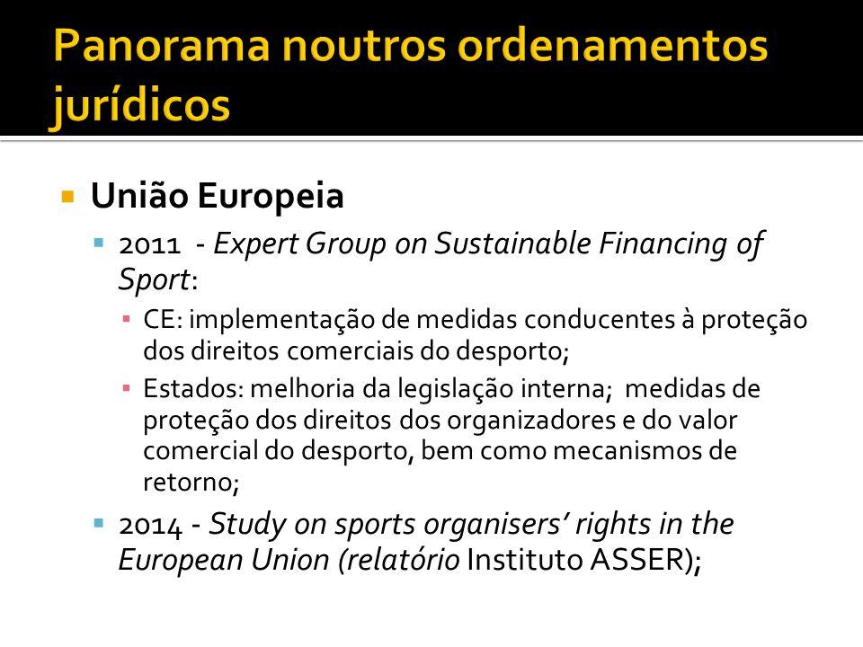  União Europeia  2011 - Expert Group on Sustainable Financing of Sport: ▪ CE: implementação de medidas conducentes à proteção dos direitos comerciai