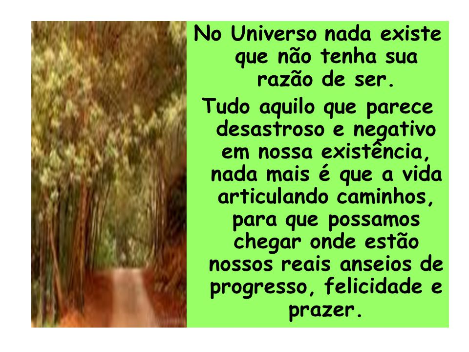 No Universo nada existe que não tenha sua razão de ser. Tudo aquilo que parece desastroso e negativo em nossa existência, nada mais é que a vida artic
