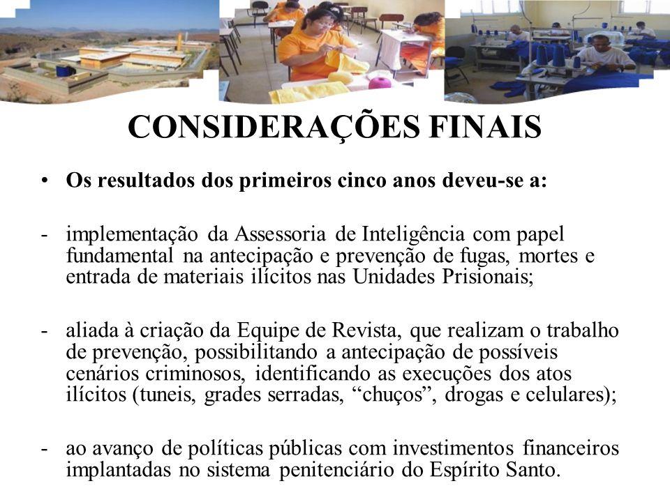 CONSIDERAÇÕES FINAIS Os resultados dos primeiros cinco anos deveu-se a: -implementação da Assessoria de Inteligência com papel fundamental na antecipa