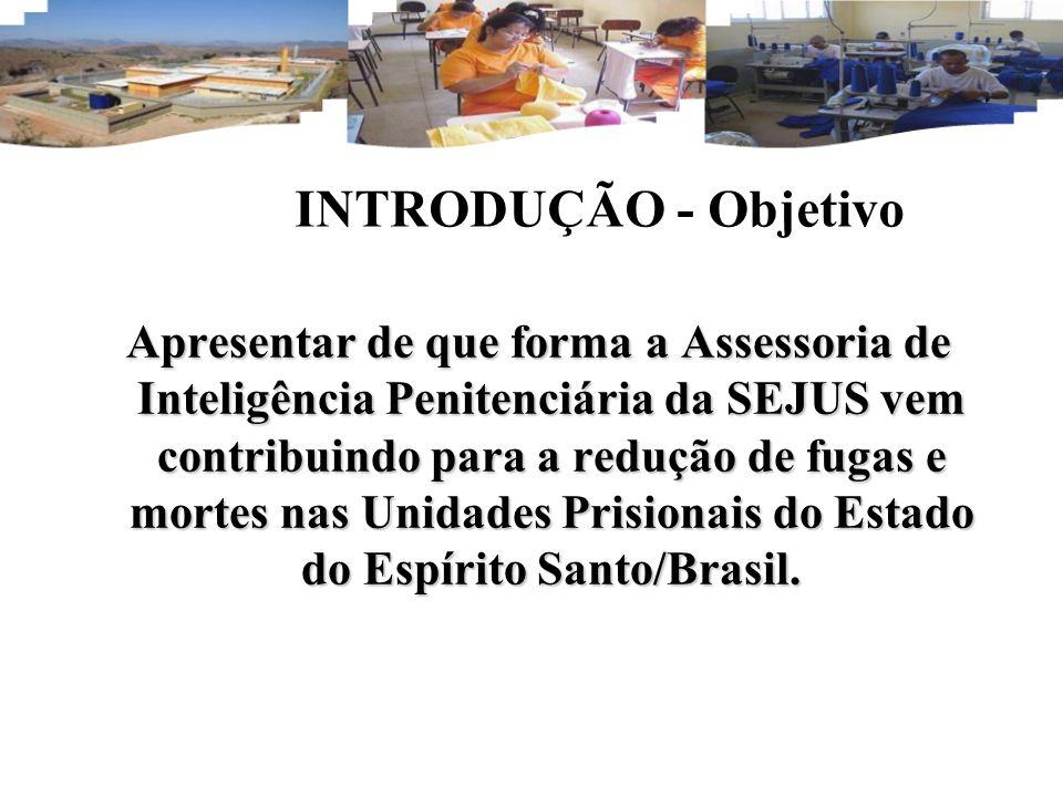 INTRODUÇÃO - Objetivo Apresentar de que forma a Assessoria de Inteligência Penitenciária da SEJUS vem contribuindo para a redução de fugas e mortes nas Unidades Prisionais do Estado do Espírito Santo/Brasil.