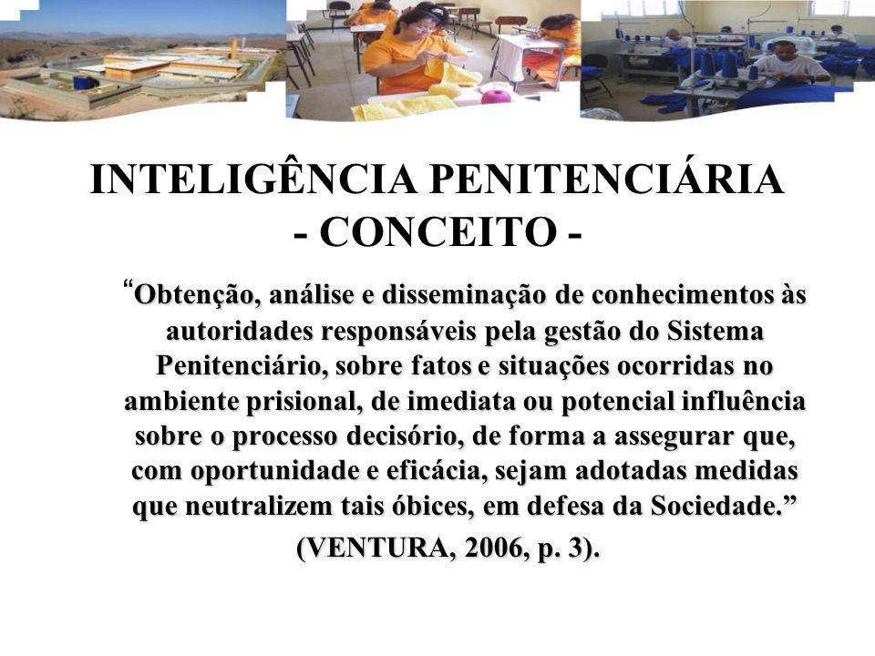 INTELIGÊNCIA PENITENCIÁRIA - CONCEITO - Obtenção, análise e disseminação de conhecimentos às autoridades responsáveis pela gestão do Sistema Penitenci