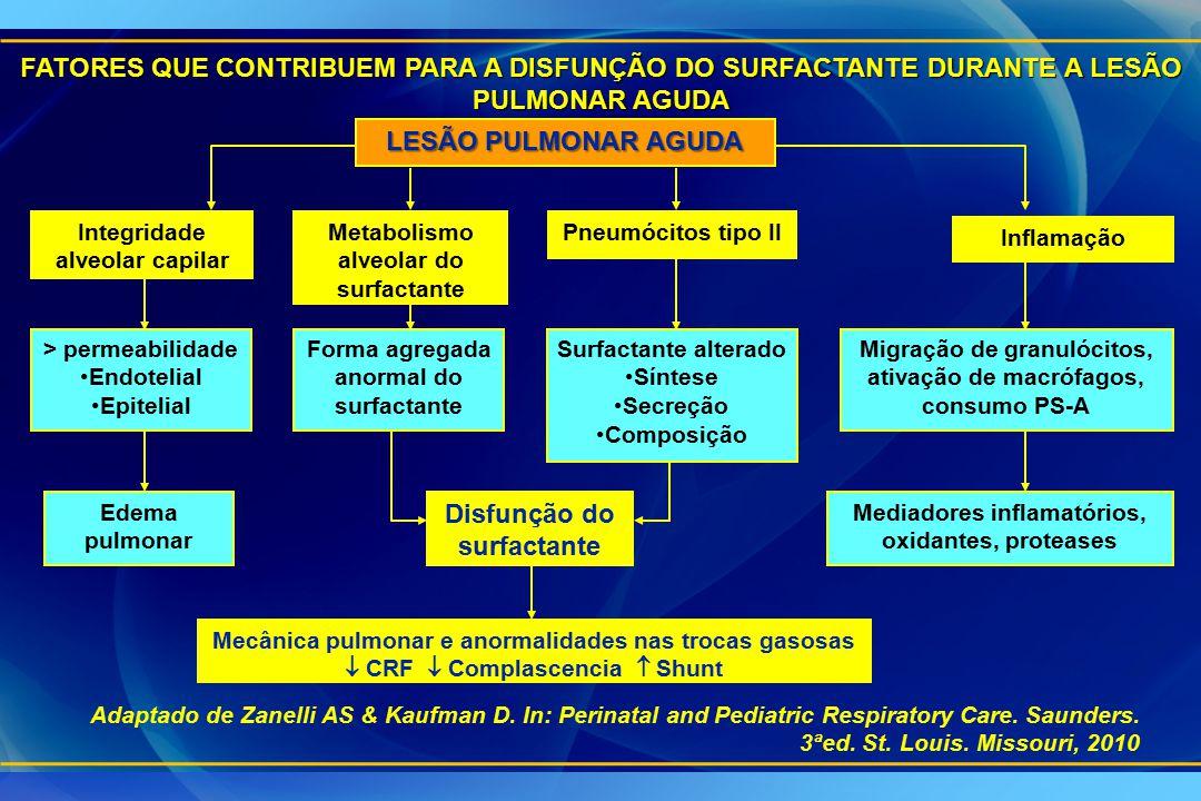 LESÃO PULMONAR AGUDA Integridade alveolar capilar Metabolismo alveolar do surfactante Pneumócitos tipo II Inflamação > permeabilidade Endotelial Epite