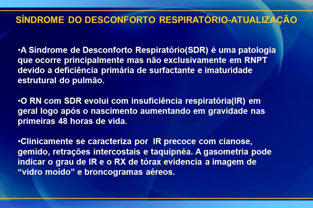 SÍNDROME DO DESCONFORTO RESPIRATÓRIO-ATUALIZAÇÃO A Síndrome de Desconforto Respiratório(SDR) é uma patologia que ocorre principalmente mas não exclusi
