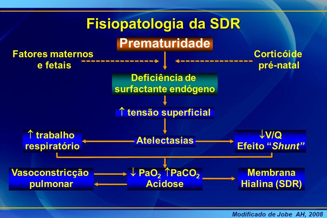 Vasoconstricção pulmonar  PaO 2  PaCO 2 Acidose Membrana Hialina (SDR) Fisiopatologia da SDR Prematuridade Deficiência de surfactante endógeno  ten