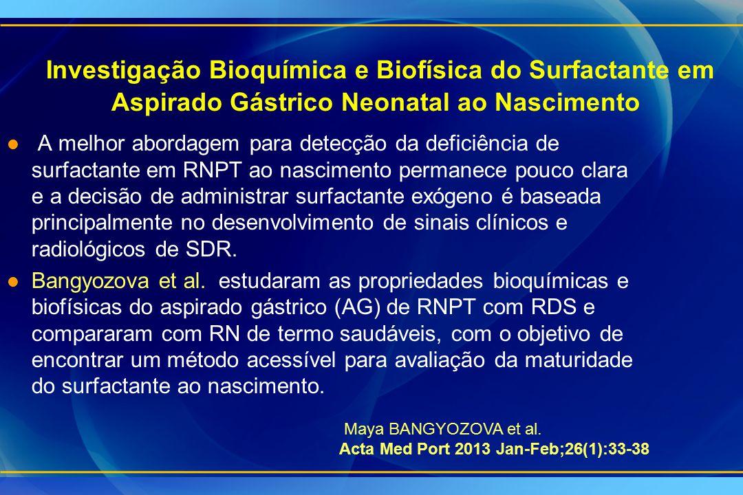 Investigação Bioquímica e Biofísica do Surfactante em Aspirado Gástrico Neonatal ao Nascimento l A melhor abordagem para detecção da deficiência de su