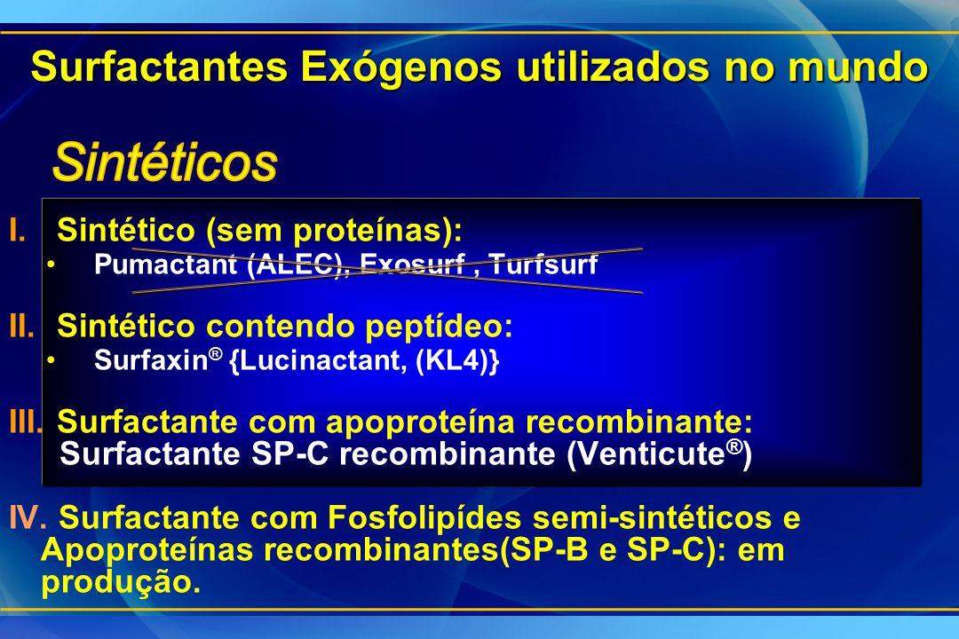 I.Sintético (sem proteínas): Pumactant (ALEC), Exosurf, Turfsurf II.Sintético contendo peptídeo: Surfaxin ® {Lucinactant, (KL4)} III.Surfactante com a