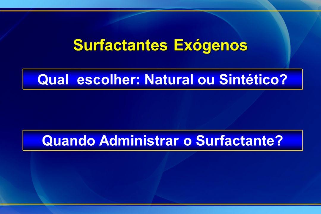 Surfactantes Exógenos Qual escolher: Natural ou Sintético? Quando Administrar o Surfactante?