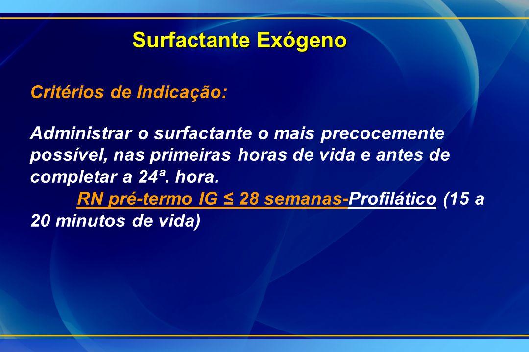 Surfactante Exógeno Critérios de Indicação: Administrar o surfactante o mais precocemente possível, nas primeiras horas de vida e antes de completar a