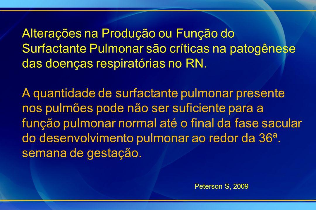 Alterações na Produção ou Função do Surfactante Pulmonar são críticas na patogênese das doenças respiratórias no RN. A quantidade de surfactante pulmo