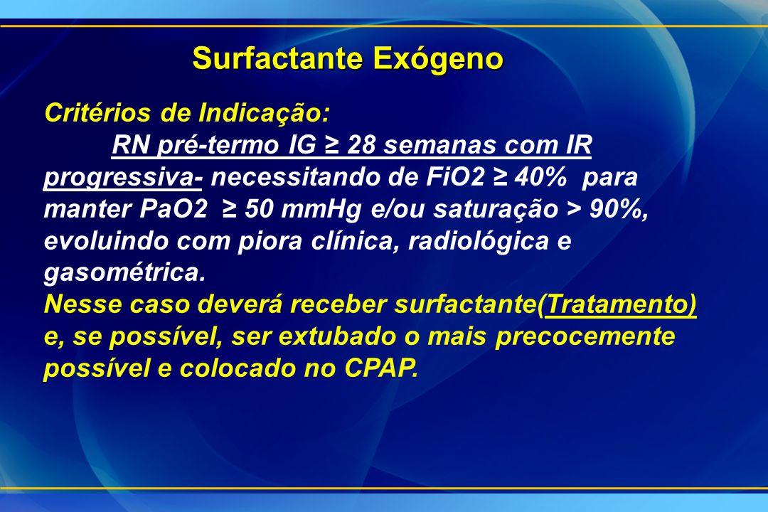Surfactante Exógeno Critérios de Indicação: RN pré-termo IG ≥ 28 semanas com IR progressiva- necessitando de FiO2 ≥ 40% para manter PaO2 ≥ 50 mmHg e/o