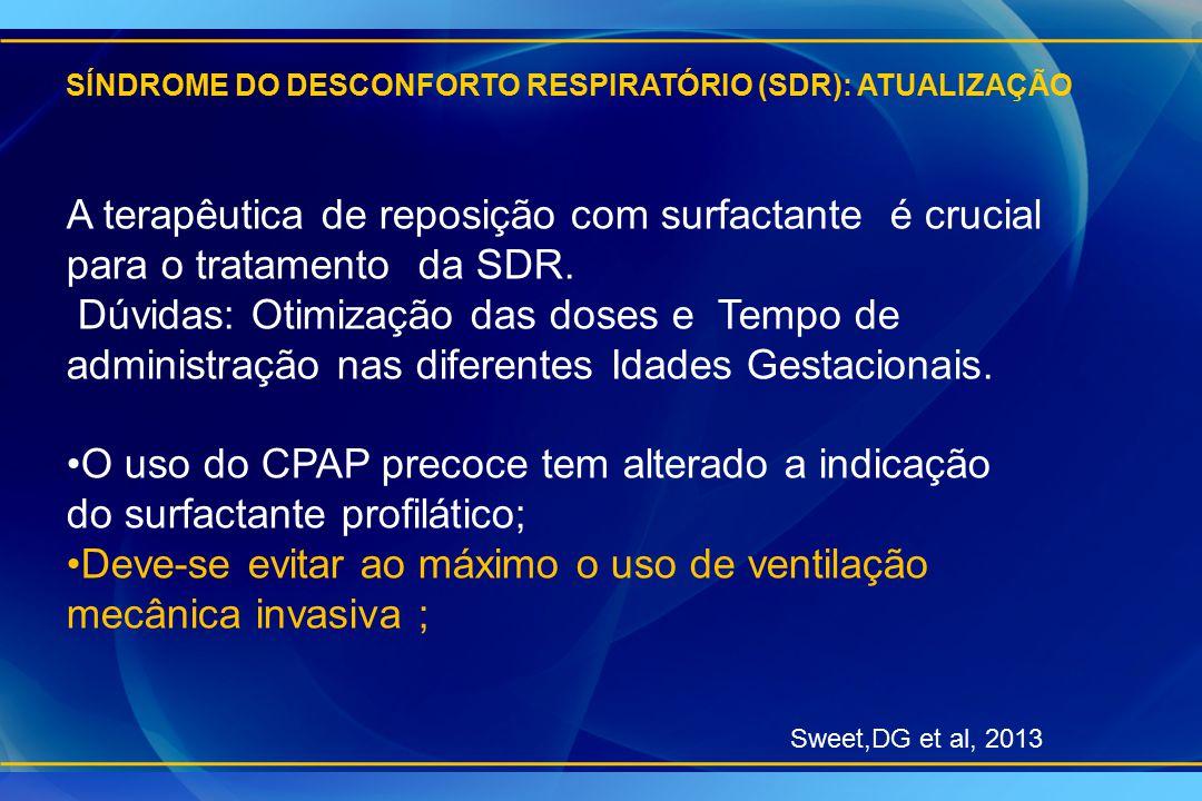 SÍNDROME DO DESCONFORTO RESPIRATÓRIO (SDR): ATUALIZAÇÃO A terapêutica de reposição com surfactante é crucial para o tratamento da SDR. Dúvidas: Otimiz