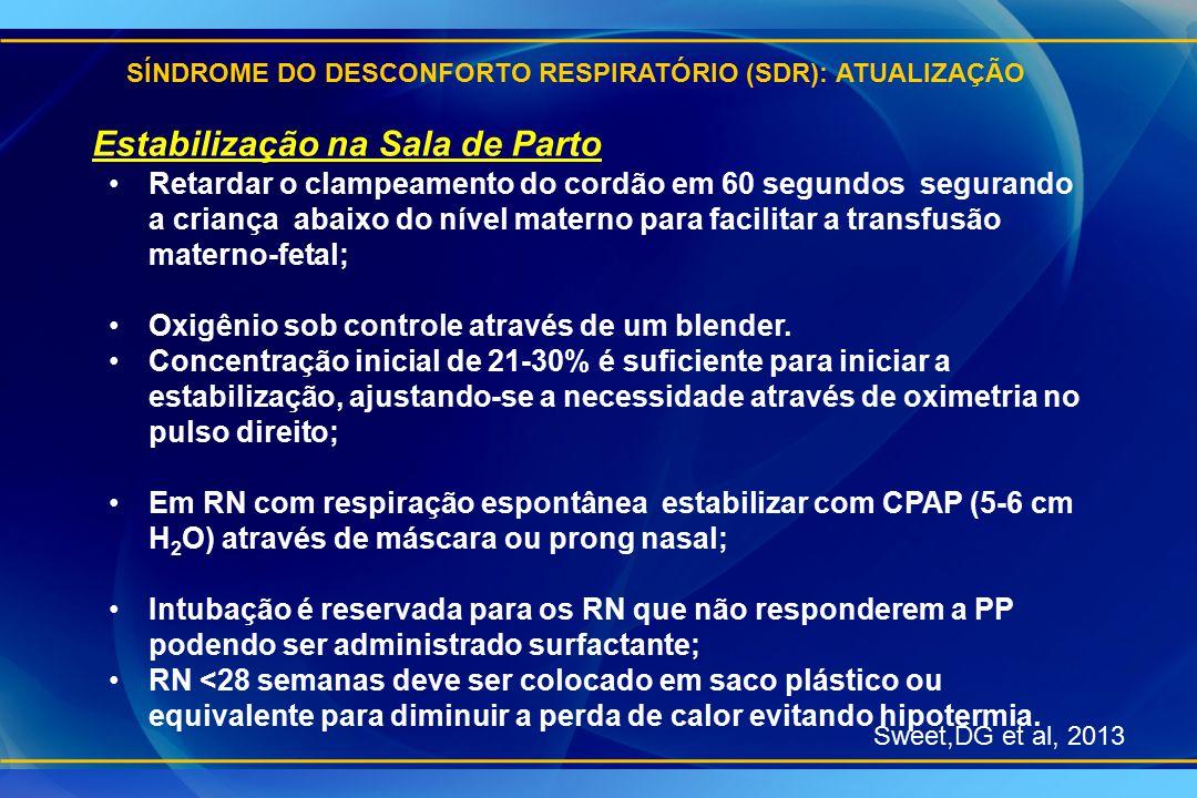 SÍNDROME DO DESCONFORTO RESPIRATÓRIO (SDR): ATUALIZAÇÃO Sweet,DG et al, 2013 Estabilização na Sala de Parto Retardar o clampeamento do cordão em 60 se