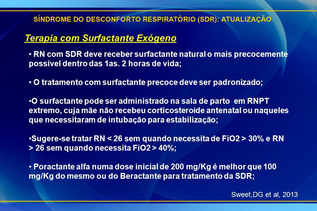 SÍNDROME DO DESCONFORTO RESPIRATÓRIO (SDR): ATUALIZAÇÃO Sweet,DG et al, 2013 Terapia com Surfactante Exógeno RN com SDR deve receber surfactante natur