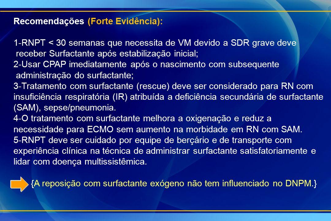 Recomendações (Forte Evidência): 1-RNPT < 30 semanas que necessita de VM devido a SDR grave deve receber Surfactante após estabilização inicial; 2-Usa