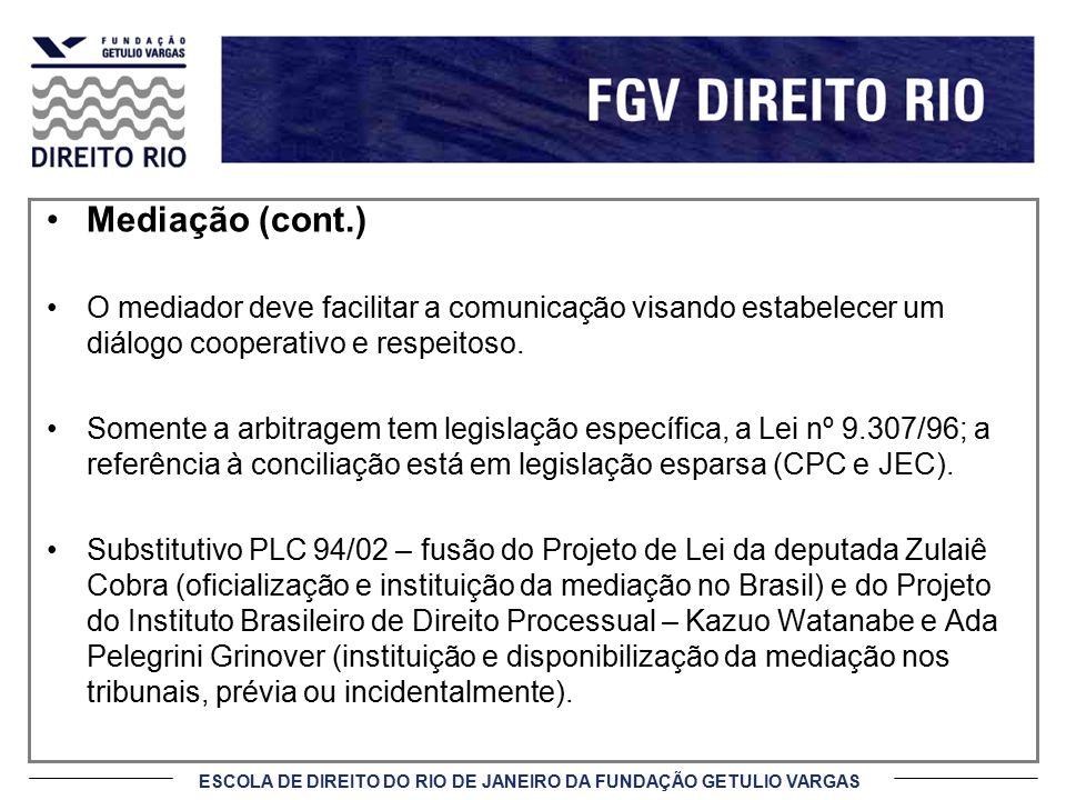 ESCOLA DE DIREITO DO RIO DE JANEIRO DA FUNDAÇÃO GETULIO VARGAS Mediação (cont.) A escolha do meio alternativo de solução de controvérsia não é arbitrária, no entanto, deve-se observar o mais apropriado para cada questão.