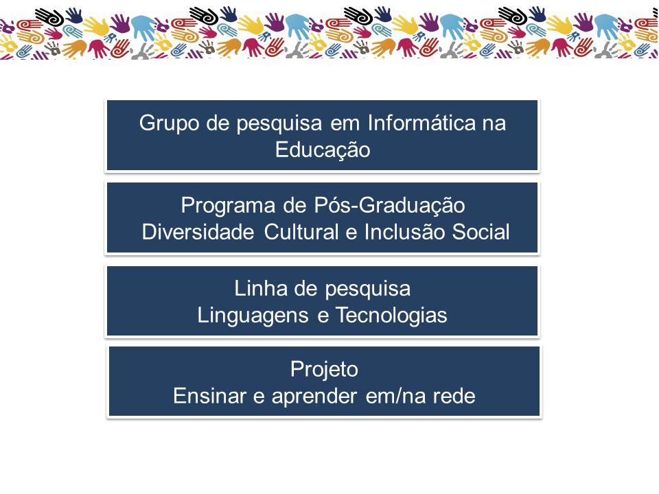 Grupo de pesquisa em Informática na Educação Programa de Pós-Graduação Diversidade Cultural e Inclusão Social Programa de Pós-Graduação Diversidade Cultural e Inclusão Social Projeto Ensinar e aprender em/na rede Projeto Ensinar e aprender em/na rede Linha de pesquisa Linguagens e Tecnologias Linha de pesquisa Linguagens e Tecnologias